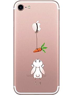 iPhone 7 Custodia Simpatico panda coniglio pinguino Transparente Silicone Cover Pacyer® TPU Gel Protettivo Skin...