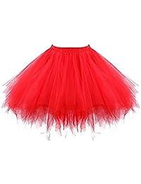 137c9f07f3 ResPai 80s Adult Neon Tutu Skirt Petticoat Fancy Dress 1980s 50s Costume  Accessories Pink Red Multiple