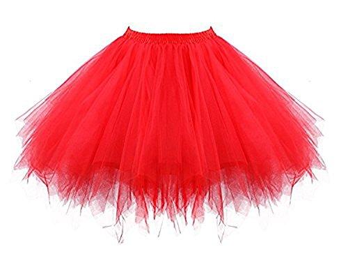(Tutu Damenrock 80er Jahre Neon Tütü Damen Rock Tüllrock Petticoat Pettiskirt 50er Vintage Tutu Kurze Ballet Rock Tanzkleid Unterrock Unterkleid Pink für Frauen Erwachsene 1980s Fancy Dress (Red))