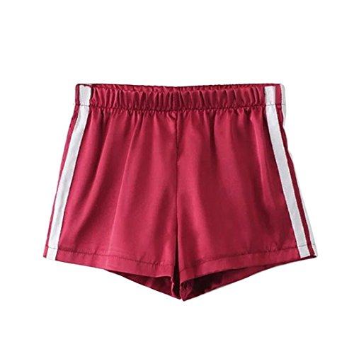 Wenyujh Femme Shorts de Sport Court avec Bord Blanc Casual Loisir Course Yoga Plage vin rouge