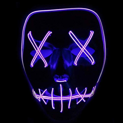 (Halloween LED Masken Festival Party Cosplay Maske Leuchtet im Dunkeln Aufhellen Masken Cosplay Kostüm für Halloween Christmas Party (Purple))