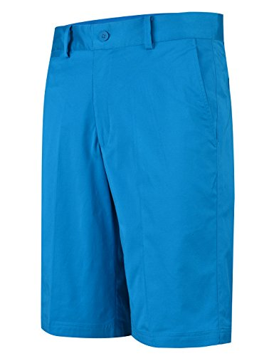 Lesmart Herren Golf Shorts Chino Sommer Hose Kurz für Männer Cool Solid Baumwolle Größe 32''Taille 88cm Blau