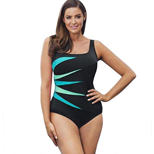 Produp Damen EIN Stück Badebekleidung Hochdrücken Gepolstert Patchwork Konservativ Beachwear