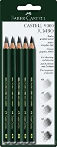 Faber-Castell 9000 119397 Jumbo Graphite Pencils Pack of 5 / HB / 2B / 4B / 6B / 8B