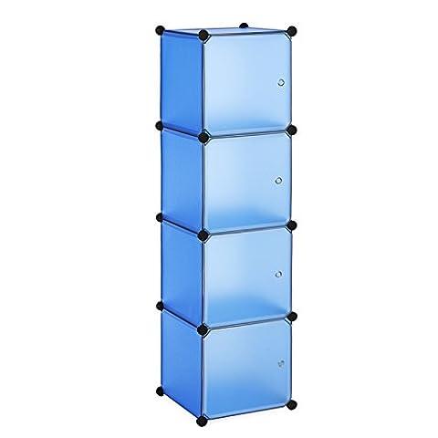 Songmics Storage Cubes / Corner Shelf for Toys, Shoes, Clothes, Handbags, Bathroom Items, etc. 40 x 37 x 178 cm, Blue