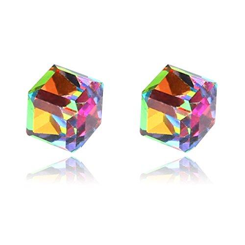Preisvergleich Produktbild ECMQS 1 Paar Gewichtsverlust Magnet Wasser Cube Gesundheit Magnet Ohrstecker für Frauen Mädchen (Bunt)