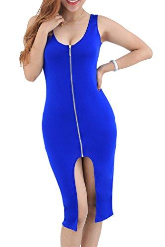 YMING Frauen Reißverschluss vorn ärmel Partei Abend plus Größen Kleid S-4XL Blau