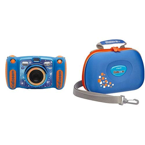 Vtech Kidizoom Duo 5.0 Digitale Kamera für Kinder, 5 MP, Farbdisplay, 2 Objektive, Pink Englische Version blau & Vtech 80-201803 - Kidizoom Tragetasche (Video-recorder Bundle)