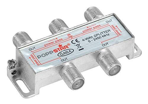 Poppstar Sat-Verteiler 4-Fach (analog/digital-tauglich), 100dB, 5-2450 MHz
