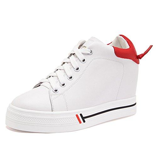Damen Sneakers Schnürer Dicke Sohle Rundzehen Frühling Skateboardschuhe Rot