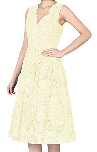 Brinny Damen Elegant Sommerkleid Spitzen Abendkleid V-Ausschnitt Brautjungfer Cocktailkleid Faltenrock Abendkleid Knielang Gelb