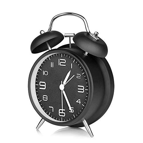 omitium Wecker Analog, Doppelglockenwecker Analog Quarzwecker kein Ticken Geräuschlos Retro Glockenwecker großes Zifferblatt von 4 Zoll mit Nachtlicht Lauter Alarm Batteriebetrieben Wecker Clock