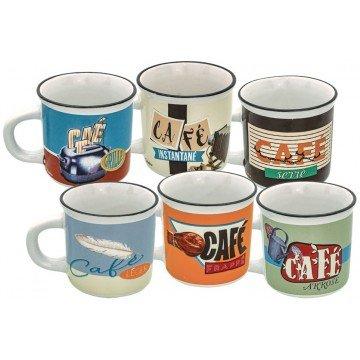 Natives 612850 Set de 6 Tasses à Café Verre, Multicolore, 5,7 x 5,7 x 5,5 cm