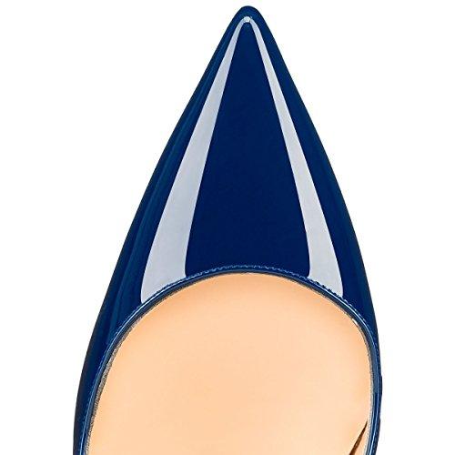 Mermaid-Womens-Shoes-Pointed-Toe-Stiletto-High-Heel-Pumps-Azul-46-Longitud-de-los-pies-295cm