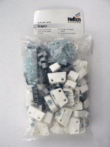 Hettich Verbindungsbeschläge Trapez, kunststoff weiß, mit Schrauben, 44 Stück, Artikelnr. 703