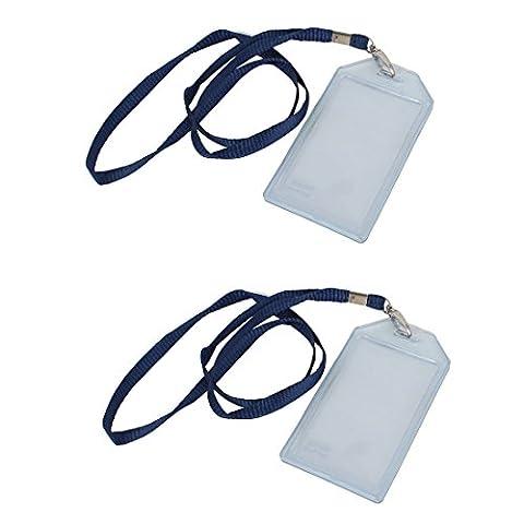 Lot de 2Transparent vertical Nom Carte d'identification Badge w bleu sangle en nylon