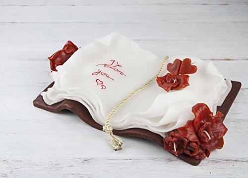 Composizione di candele in cera libro con frase o dedica personalizzabile cm 35 x 25 x 9 regalo per nozze e matrimonio compleanno anniversario laurea inaugurazione