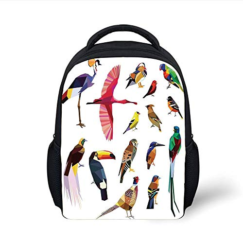 Kids School Backpack Flying Birds Decor,Colored Collection of Bird Set with Poly Design Triangle Mosaic Illustration for Living,Multi Plain Bookbag Travel Daypack -