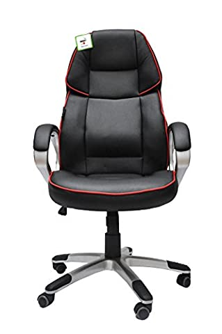 Gaming Racing Sports Office Chair Pro Executive PU Leather High Back Design Padded Support Adjustable Height and Tilt Recliner (Black /