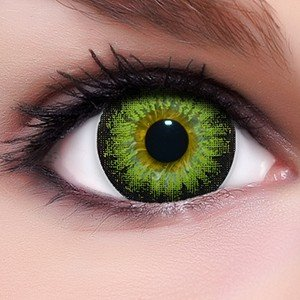 Linsenfinder Lenzera Circle Lenses grüne 'Circle Green' ohne und mit Stärke + Kombilösung + Behälter 14,50mm farbige Kontaktlinsen