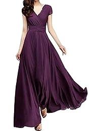 Vestidos de mujer elegantes 2018,VENMO Moda mujer casual sólido V-cuello fiesta noche