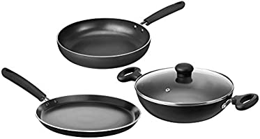 Solimo Non-Stick 3-Piece Kitchen Set (Induction and Gas compatible)