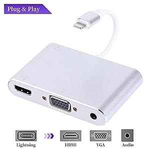 MASOMRUN HDMI + VGA + Audio adattatore, HDTV1080P VGA & HDMI & adattatore audio, 3 in 1 convertitore adattatore AV digitale per tutti sopra la versione iOS 5 - Plug and play-sliver