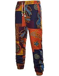 Zhuhaitf Transpirable Loose Lino Deportes Pantalones Casual Joggers Pants  Retro Printing para Hombres Adolescentes Talla extra 2a38508e6d19