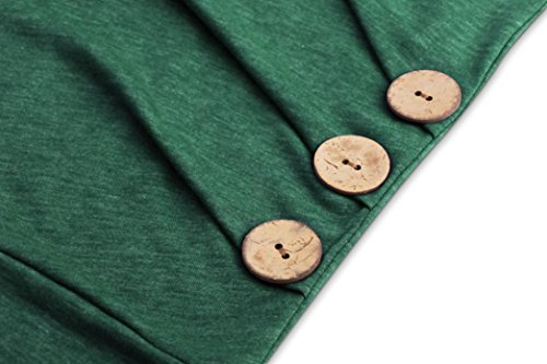 ESAILQ Y2-WDV8-KM3N Solide Chemise Tops à Manches Longues Bouton Chemisier Décontracté tops Plus Taille Vert