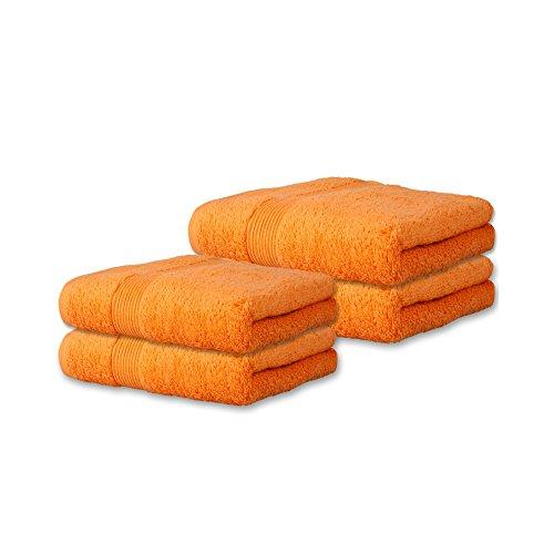 4 tlg. flauschiges Handtuch-Set viele Farben, viele Größen 100{9250514baf8878204b0f7a20268ea78f848da3575eb8c09e50fe8b99f058ca34} Baumwolle Frottee Qualität ca. 500g/qm 4 teilig 2x Duschtuch 70 x 140 cm 2x Saunatuch 80 x 200 cm Serie Bari CelinaTex 0002078 orange