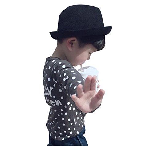DaBag Kappe für 3-5 jahre alt Kinder Junge Fischerhüte Cap Einfarbig Pork Pie Hüte Jazz Vorschulkinder Hut Cool Fedora Draußen Freizeit Hat Mode (Schwarz)
