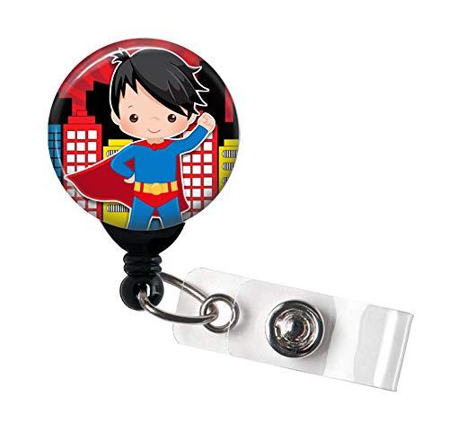 Superhelden-Haarspange mit drehbarem Clip und extra langem 86,4 cm Kordel - Ausweishalter für Krankenschwester, RN/LPN/Männliche Krankenschwester/Murse/Lehrer, Schwarz (Männliche Rn Geschenke)
