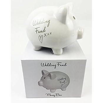 Wedding Fund Moneybox White Piggy Bank Savings Pot Engagement Present Gift
