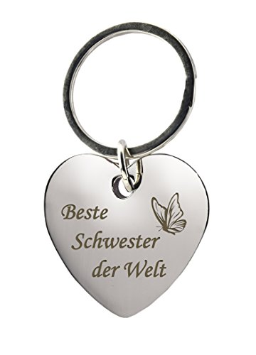 """Schlüsselanhänger Herz mit Gravur """"Beste Schwester der Welt"""" mit Schmetterling – Chrom – Geschenk – Mutter – Mama – Muttertag oder als Geschenk zu Weihnachten"""