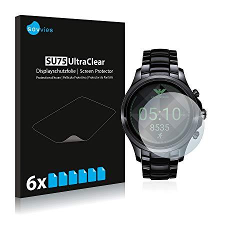 savvies Protector Pantalla Compatible con Emporio Armani Connected Touchscreen 5000-Series (6 Unidades) Pelicula Ultra Transparente
