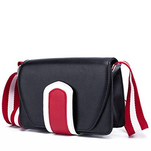 FZHLY Nuovo Cuoio Largo Tracolla Messenger Bag Coreana Selvatica Piccola Borsa Piazza,Blue Black