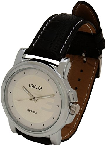 """Dice """"Elite 0009"""" Casual Round Shaped wrist watch for Men, Fitted with Beautiful Black Color Dial and Anti Allergic Leather Strap"""