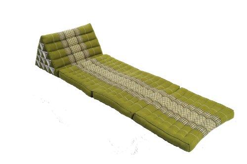 Thaikissen mit riesigem Dreieck, Thaimatte mit Füllung aus Kapok, Tagesbett mit Dreieckskissen, Sitzsack Kissen von Handelsturm grün