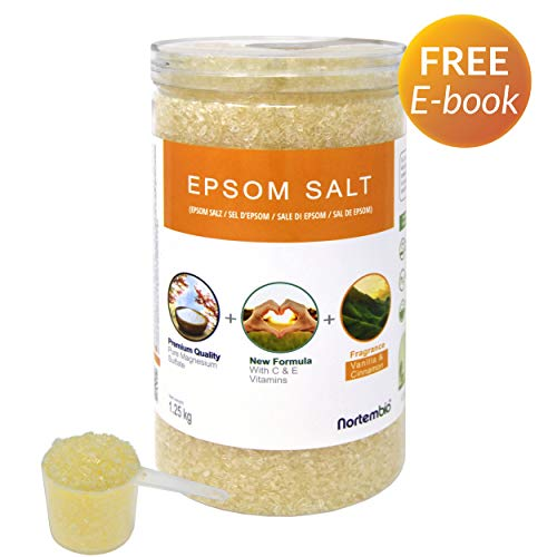 Epsom Salz NortemBio 1,25 Kg. Neuartigen Duft von Vanille und Zimt. Hydratisiert mit Vitamin C und E. Badesalz und Körperpflege. Entwickelt in Deutschland. - Erdbeer-vanille Vitamine