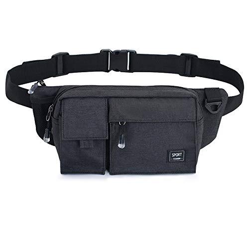 GIRLAA marsupio da uomo multi-funzione moda tasche mini diagonale borsa a tracolla casual piccolo zaino sportivo da uomo nero 23x7x14cm