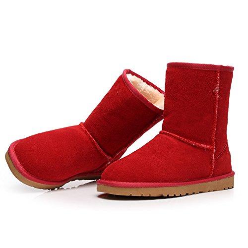 Shenn Femmes Mode Confortable Antidérapante Suède Cuir Neige Bottes SN1025 Rouge