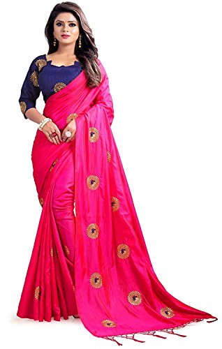 b9cd0efbad9 RR Crafts Crerations Indian Women s Silk Embroidered Saree with Blouse Piece