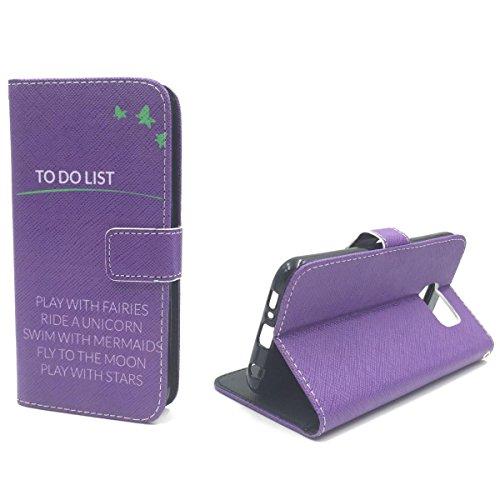 König-Shop Handy Tasche für Archos 50c Neon Flip Cover Case Schutz Hülle Etui Motiv Wallet, Farbe:To Do List Lila