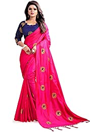 Vinayak Textiles Women's Paper Silk Saree With Blouse Piece Material (RV-chaakri_Green_Free Size)