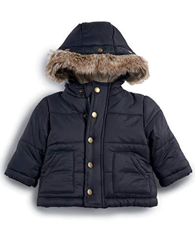 Mamas & Papas Baby-Jungen Faux Fur Trim Coat Mantel, Blau (Navy S82LGS3), 3-6 Monate - Faux Fur Trim Jacke
