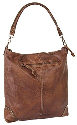 SAMANTHA LOOK Shopper ECHT LEDER Damen Mittel 017785 Cognac