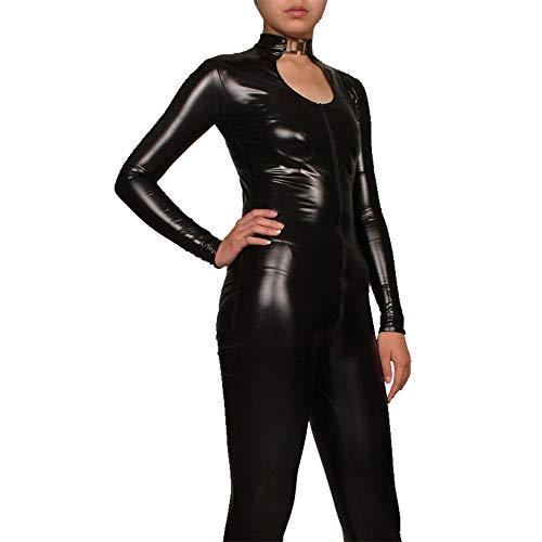 XSMG Sexy Schwarzer Kleber Damen Catsuit Cosplay Halloween DJ Bar Bühne Leistung Kleidung,Black,XXL