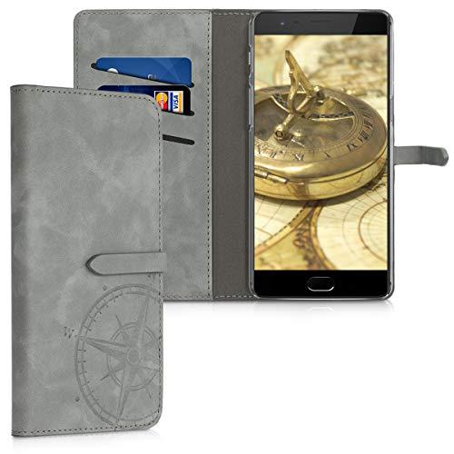 kwmobile OnePlus 3 / 3T Hülle - Kunstleder Wallet Case für OnePlus 3 / 3T mit Kartenfächern und Stand - Kompass Vintage Design Grau