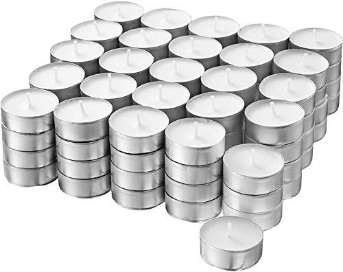 S&S-Shop 100 Teelichter ca. 6 h Brenndauer | Weiß | unbeduftet | Ø 38 mm | Teelichte | Kerzen