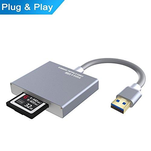 Lector de tarjetas XQD, USB 2.0 Lector USB 3.0 Alta velocidad de aluminio XQD 2.0 USB 3.0 (500 MB / s) Lector de tarjetas de memoria Carmera (Supoort Sony G series, Lexar tiene tarjeta USB Mark) para Mac Windows Sistema D4 D5 D500
